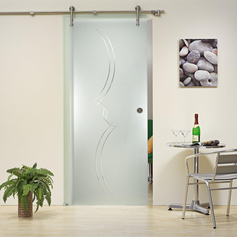 Correderas de cristal de la puerta ST 789 V1000 - 900 x 2050 x 8 mm a la izquierda, 8 mm de cristal de seguridad, satinato con cristal esmerilado, asa y sistema