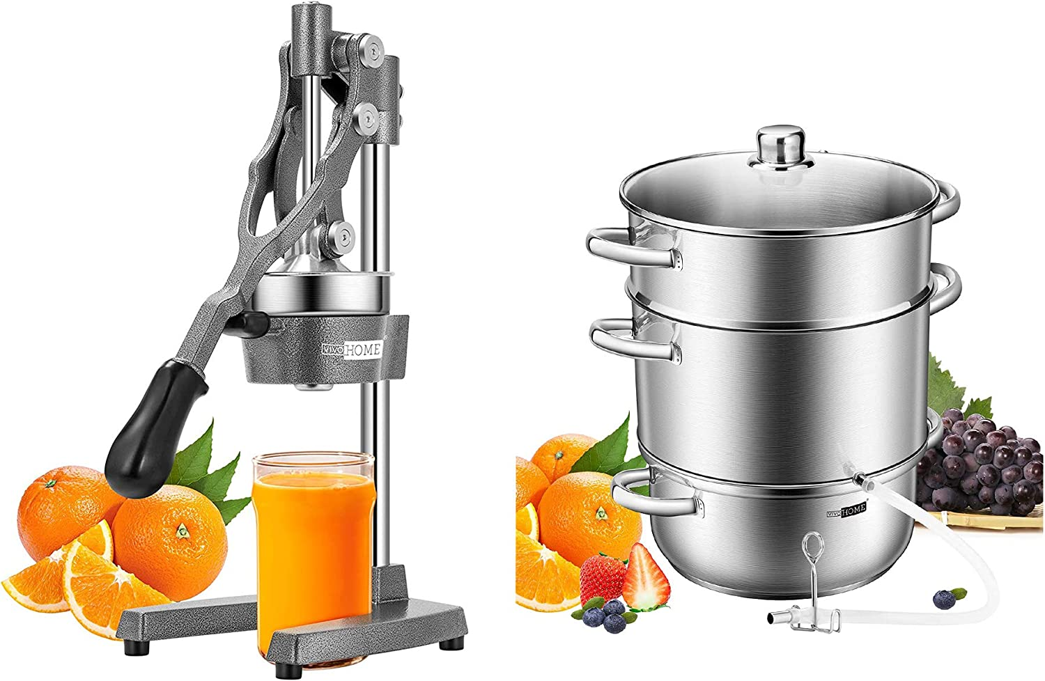 VIVOHOME Extra Tall Heavy Duty Commercial Manual Hand Press Citrus Orange Lemon Juicer Squeezer Machine Grey and 24cm 8.5Qt Stainless Steel Juice Steamer Extractor Fruit Vegetables Juicer Steamer Pot