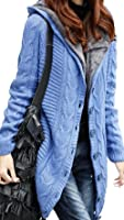 Aishang Women's Thick Warm Solid Cable Sweater Faux Fur Lined Hooded Cardigan Jacket Coat
