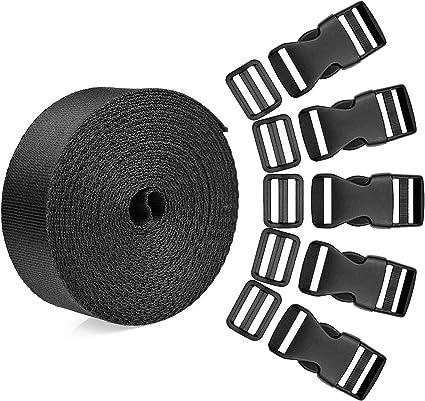 Black Livder 1 Inch 16 Yards Polypropylene Webbing Strap Band with 16 Set 1inch Side Release Plastic Buckles