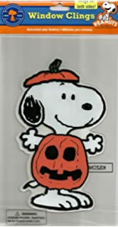 peanuts spooky jelz snoopy dressed as pumpkin halloween gel window cling - Window Clings Halloween