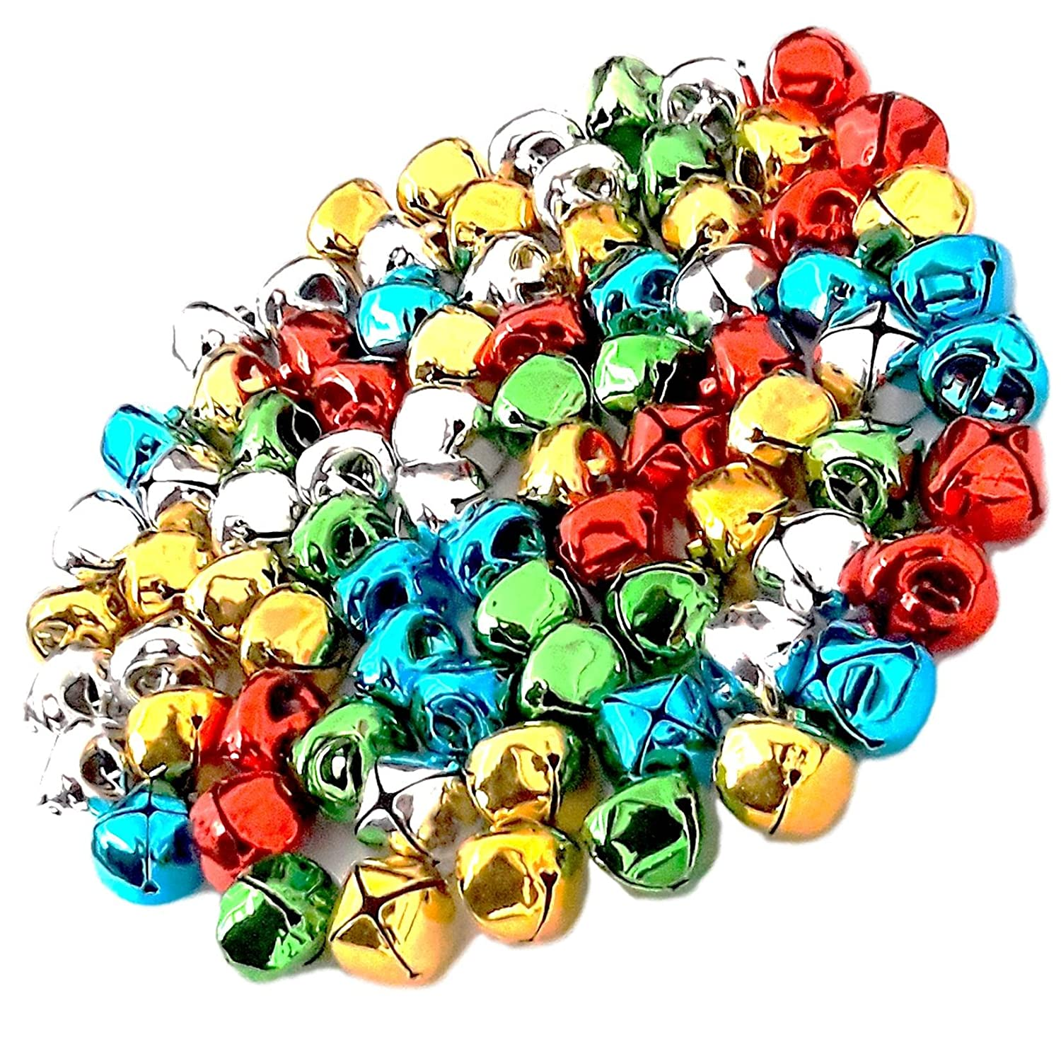 80 Jingle Bells 15mm Coloured Gold Silver Red Green Blue for Craft Kids Crafts Christmas Sleigh Festive Decorations By Amazing Arts and Crafts