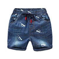 YASSON Little Kids Boys Shorts Jeans Leisure Blue Pants Soft Outfits Adjustable Denim