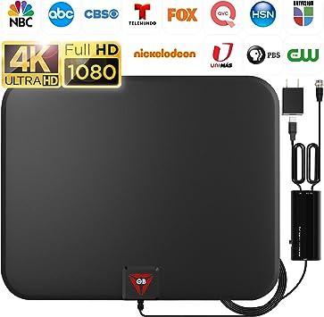 Antena de TV digital HD amplificada de largo alcance de 120 millas, compatible con 4K 1080p