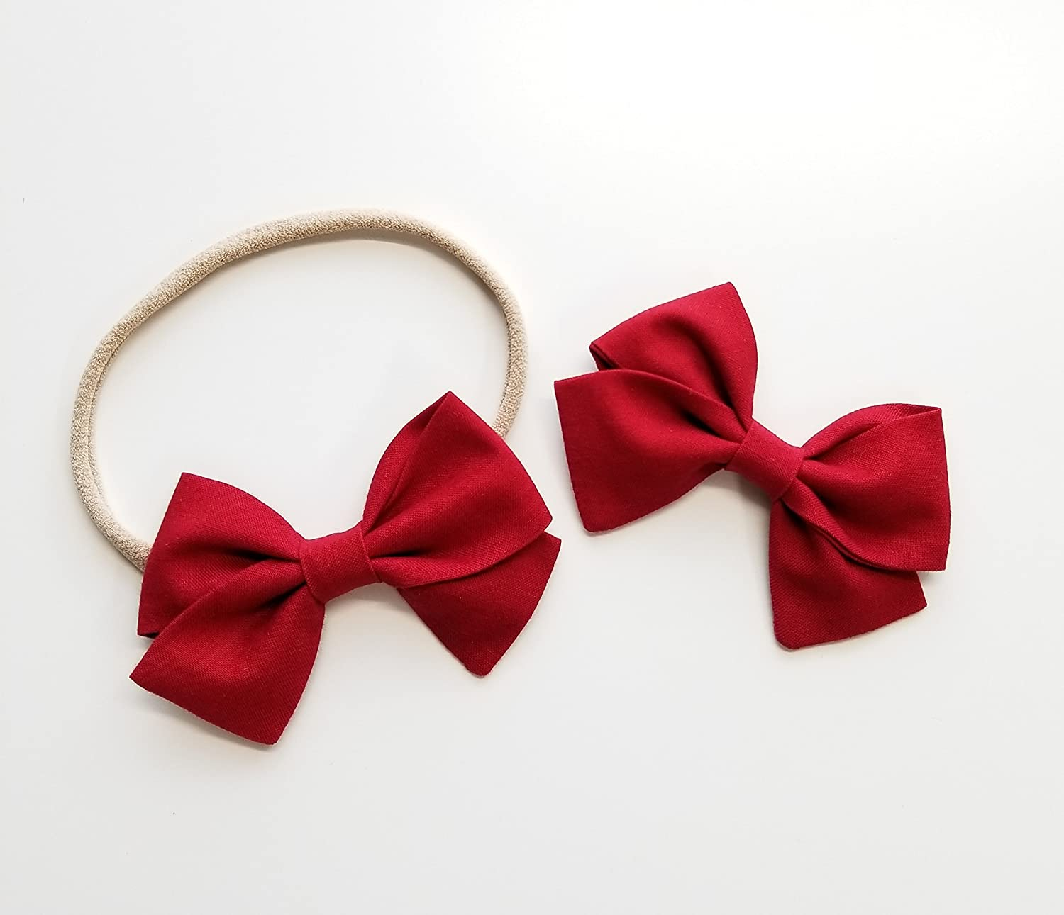 Handmade Baby Girl Bow Deep Red Nylon Headband or Hair Clip Baby headbands baby alligator clip