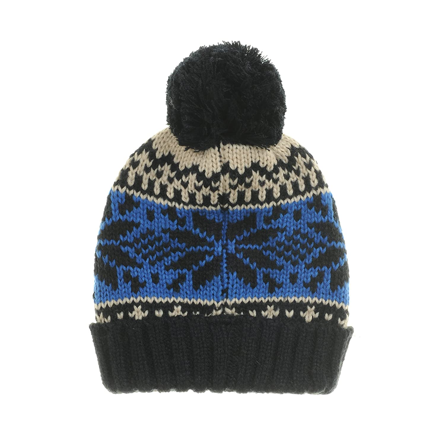 b362a15bd87 WITHMOONS Knitted Fairs Isle Nordic Bobble Pom Beanie Hat CR5169 (Black) at  Amazon Women s Clothing store