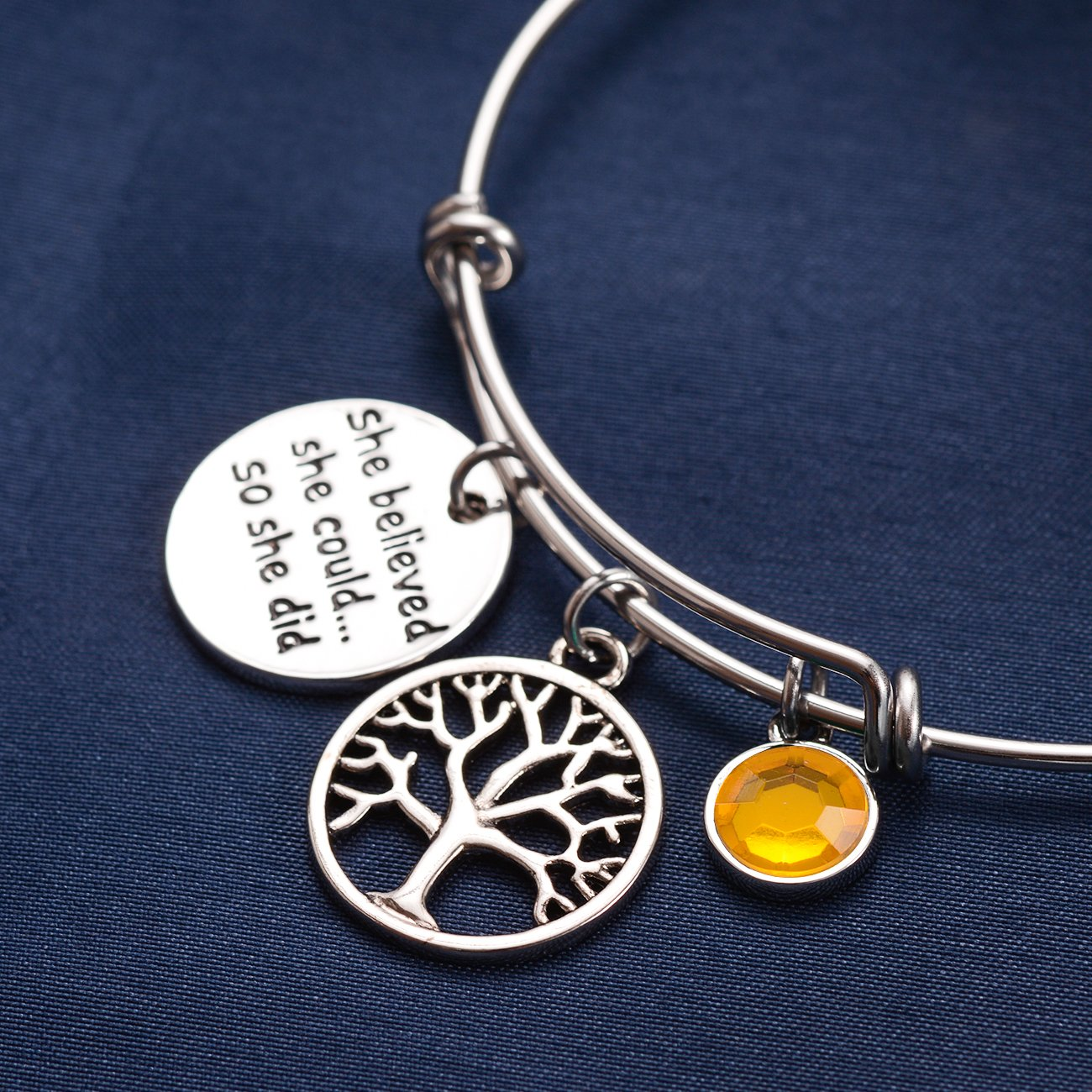 UNGENT THEM Birthstone Bracelet She Believed She Could So She Did Bracelet Tree of Life Expandable Bangle,for Women Teen Girl Inspirational Jewelry Birthday Gifts
