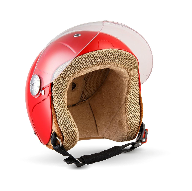 SOXON SK 55 Kids Red · Chopper Bobber Roller Helm Cruiser Helmet Kinder Helm Kinder Jet Helm Biker Mofa Vintage Vespa Helm Kids Retro Pilot Motorrad Helm