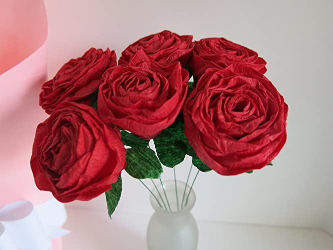 Amazon.com: Half Dozen Red Crepe Paper Roses, Wrapped For Gift ...