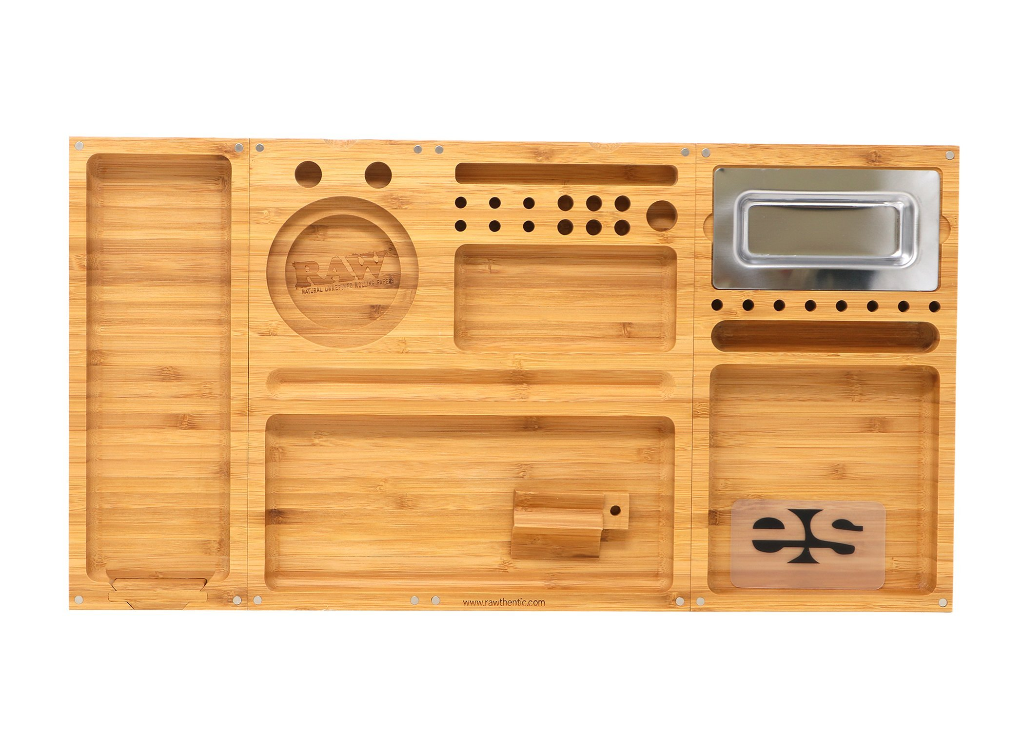 RAW ''Triple Flip'' Bamboo Magnet Rolling Foldable Tray with Built-in Ashtray