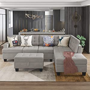 Sectional Sofa with Chaise Lounge and Storage Ottoman, L Shape Couch 3-Piece for Living Room, Gray