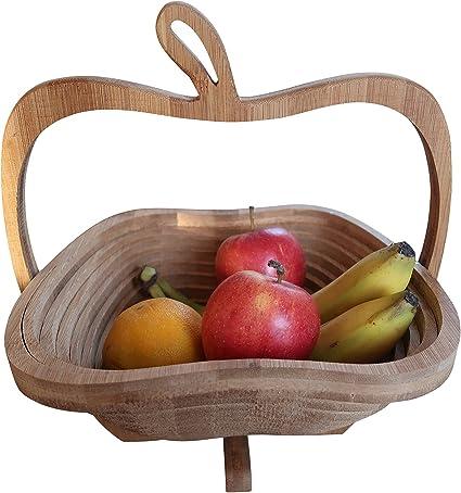 OurNiceCollection Cesta de fruta plegable de bambú sostenible ...