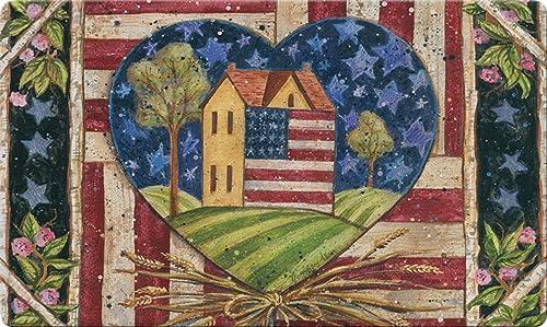 Toland Home Garden American Folk Heart 18 x 30 Inch Decorative Floor Mat Rustic USA Patriotic Home Doormat