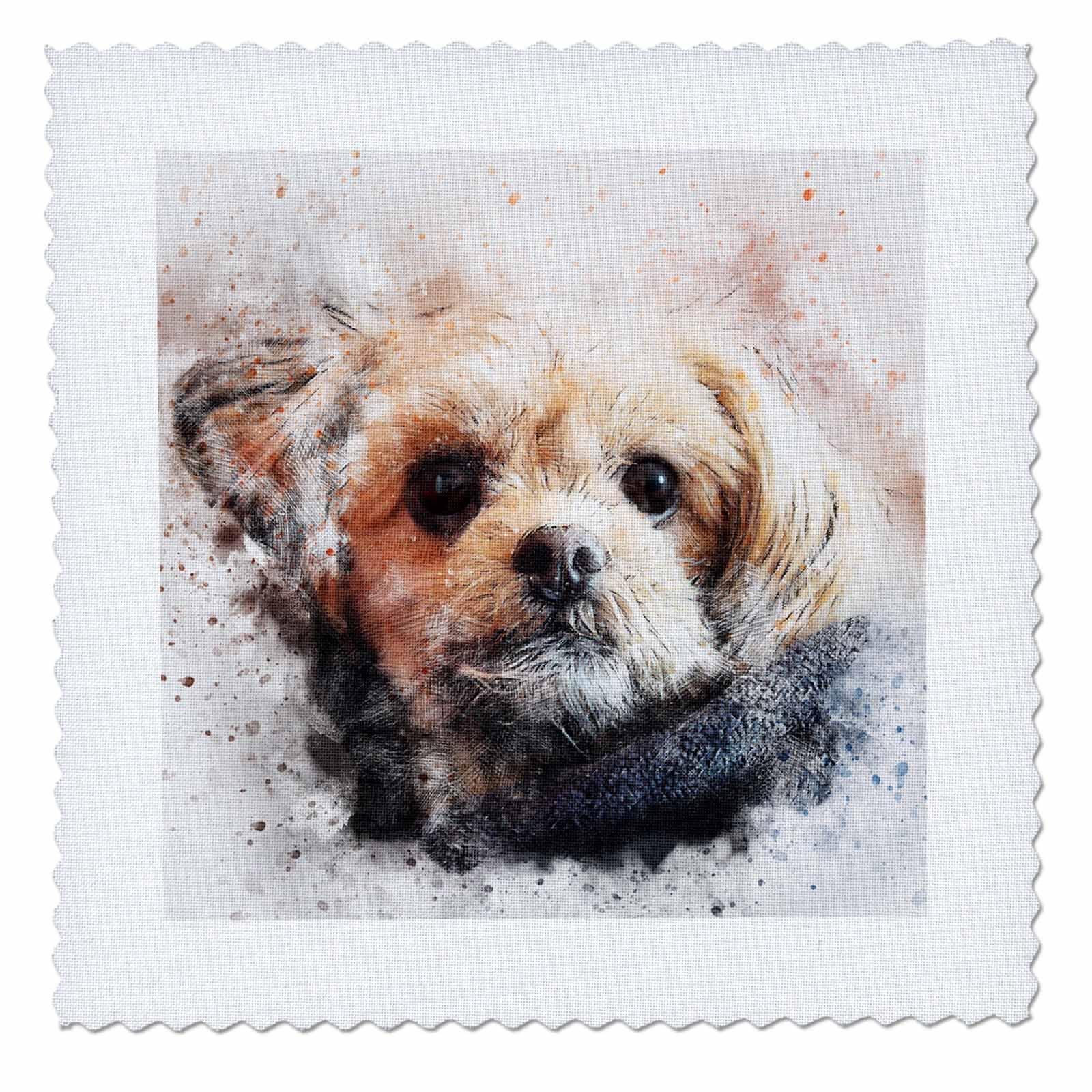 3dRose Sven Herkenrath Animal - Funny Dog Portrait - 25x25 inch quilt square (qs_280297_10)