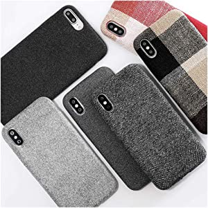 Mixneer Compatible for iPhone 7 Plus/iPhone 8 Plus Case, Cloth Texture Soft TPU case Ultra-thinCasesFiber Matte Frosted Soft TPU Silicone Case for Apple iPhone 7 Plus/iPhone 8 Plus - Style 8