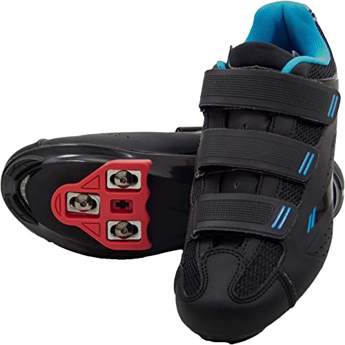 Tommaso Pista Women's Indoor Cycling Ready Cycling Shoe Bundle with Compatible Cleat, Look Delta, SPD - Black, Blue, Pink, White