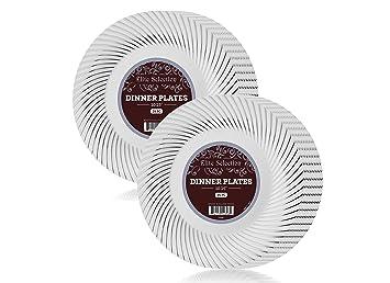 Elite Selection - Juego de 50 platos de plástico blanco con remolino de plata (10 en plato de remolino de plata): Amazon.es: Hogar