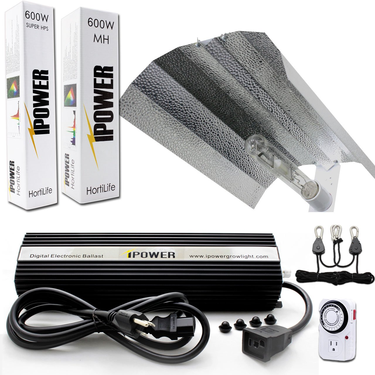 iPower 600 Watt HPS MH Digital Dimmable Grow Light System Kits Wing Reflector Set with Timer