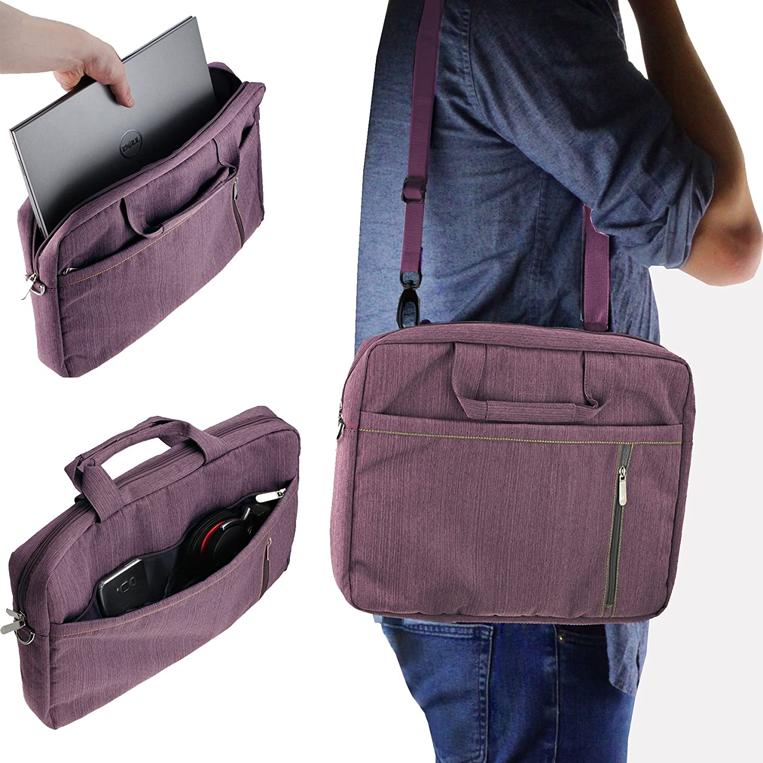 Navitech Purple Sleek Premium Water Resistant Shock Absorbent Carry Bag Case Compatible with The The Acer Travelmate P259 14 inch