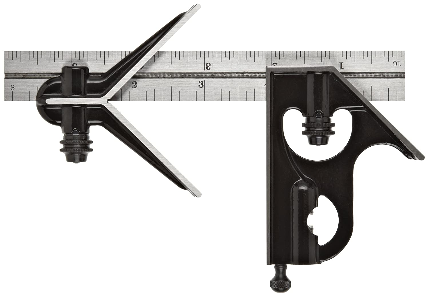 16R Graduation 12 Size 12 Size Hardened Steel Square And Center Heads With Regular Blade Combination Square Smooth Black Enamel Finish Starrett 33HC-12-16R Forged