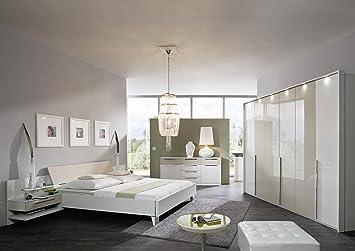 Schlafzimmer mit Bett 180 x 200 cm cappuccino hochglanz/ weiss ...