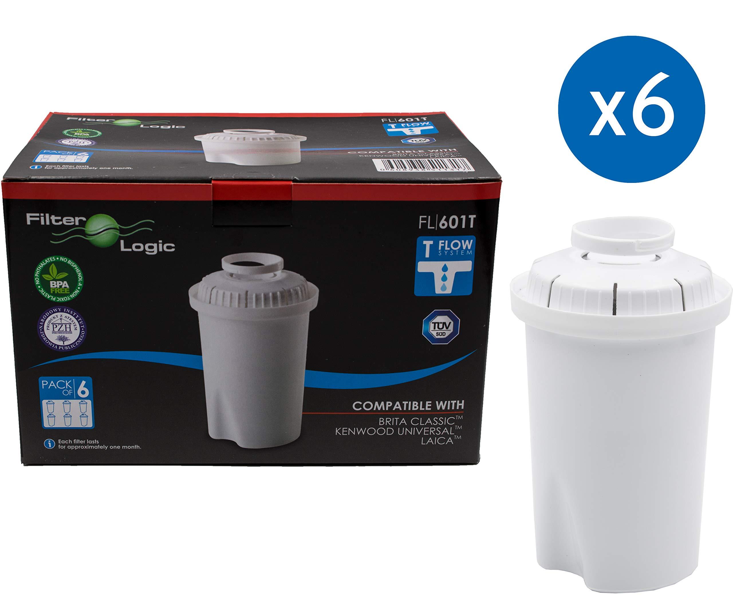FilterLogic FL601T - 6 unidades - cartucho de filtro compatible con BRITA ® Classic / BWT