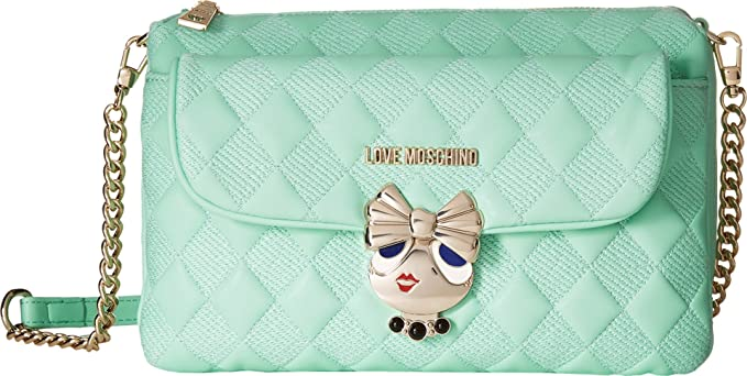 74e4df07281 LOVE Moschino Updated Small Quilted Crossbody Bag with Love Girl Clasp Mint  One Size  Amazon.co.uk  Clothing