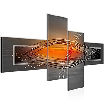 Amazon.de: Bilder Abstrakt Wandbild 160 x 80 cm Vlies - Leinwand ...