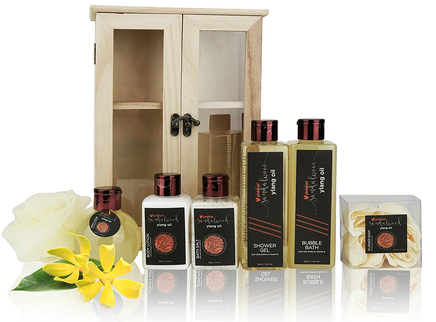 Holiday Gift Basket For Women, Sandalwood Ylang Oil with Shea Butter & Vitamin E, Spa Gift Set, In Wooden Cabinet. 6 Greeting Cards included