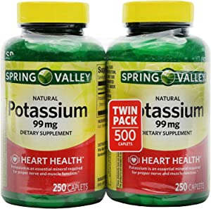 Spring Valley Potassium 99 mg from Potassium Gluconate 595 mg (250 Count, 2 Pack)
