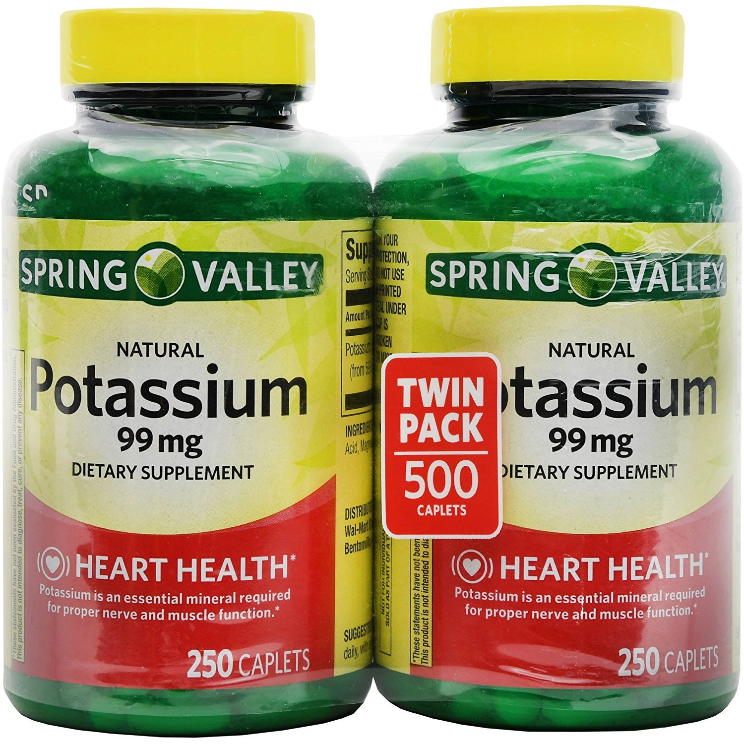 Spring Valley Potassium 99 mg from Potassium Gluconate 595 mg (2 Bottles of 250 Caplets