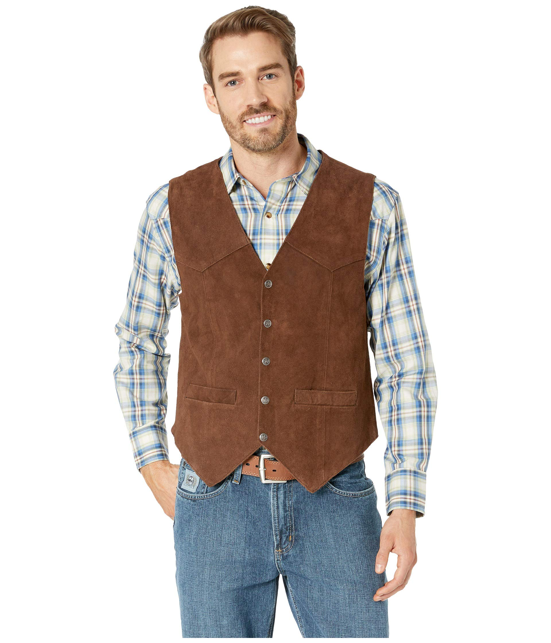 Scully Men's Rugged Calf Suede Vest Dark Brown Medium by Scully