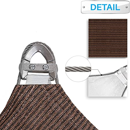 Patio Large Sun Shade Sail 24 x 24 x 24 Equilateral Triangle Heavy Duty Strengthen Durable Outdoor Canopy UV Block Fabric A-Ring Design Metal Spring Reinforcement 7 Year Warranty -Brown