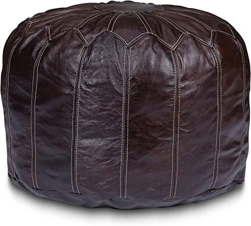 Stone Leigh Moroccan Genuine Leather Pouf Ottoman Footstool 14″ Tall 20″ Wide Large Round Stuffed Living Room Decor Bohemian