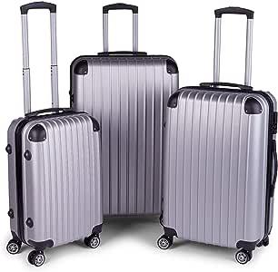 Milano Slim Line Light Weight 3 Piece Set Luggage Set Small Medium Large - Silver