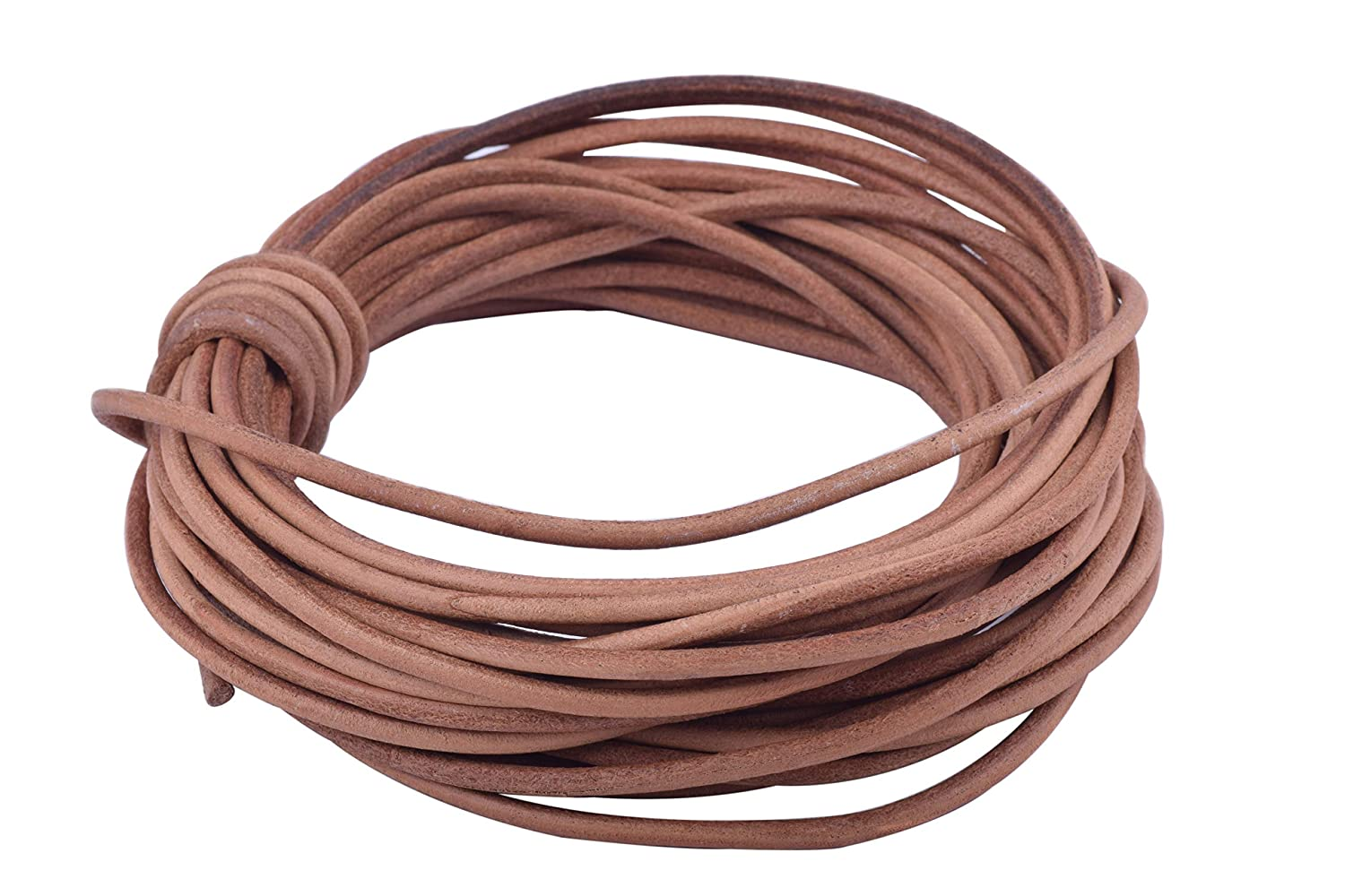 KONMAY 10 Yards 3.0mm Solid Round Real Leather Cord for Jewelry Making Crafting Beading Antique Brown