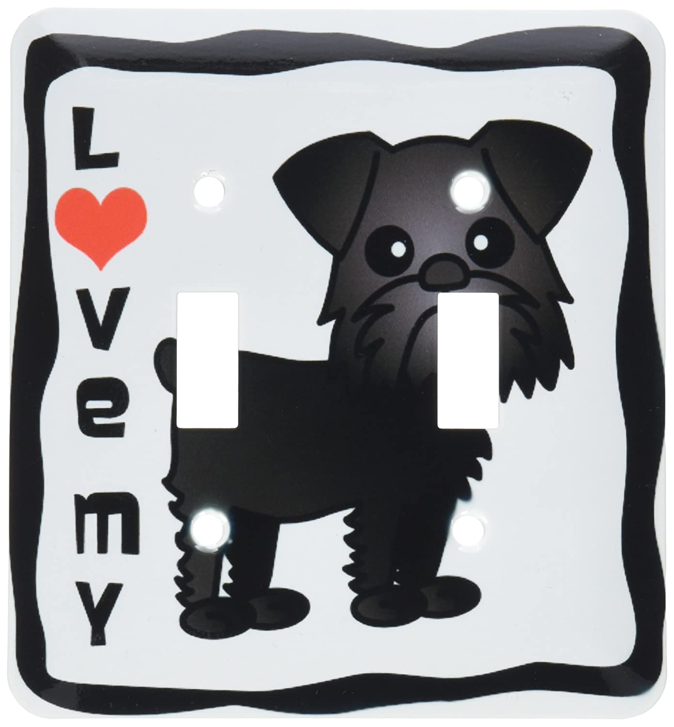 3dRose lsp/_15365/_2Love My Brussels Griffon Black Double Toggle Switch