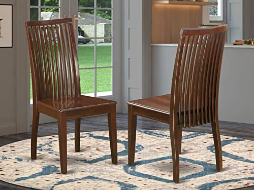 East West Furniture Ipswich Dining Chair With Slatted Back, Medium, Mahogany