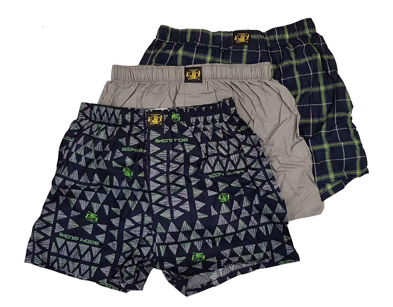 Body Glove Men's 3-Pack Woven Boxers Small)