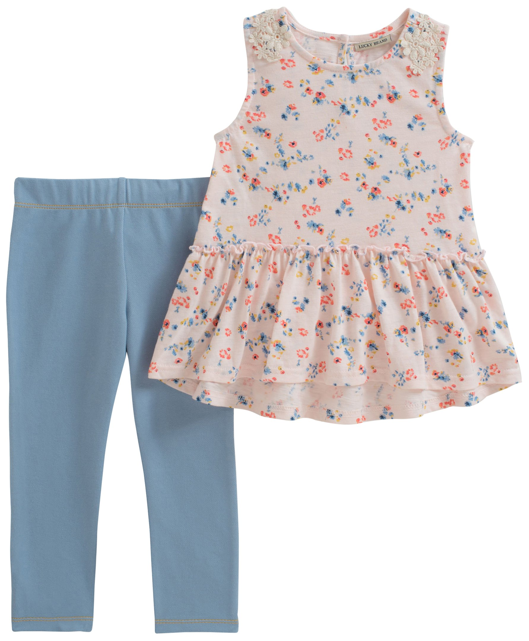 Lucky Brand Little Girls' Pants Set, Print/Light Blue, 5