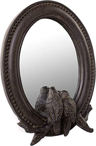 Red Co. Farmhouse Oval Framed Mirror with Birds in Dark Brown