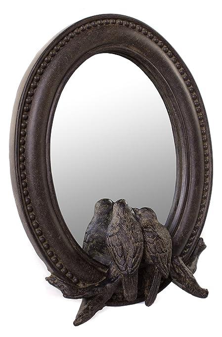 amazon com farmhouse oval framed mirror with birds in dark brown