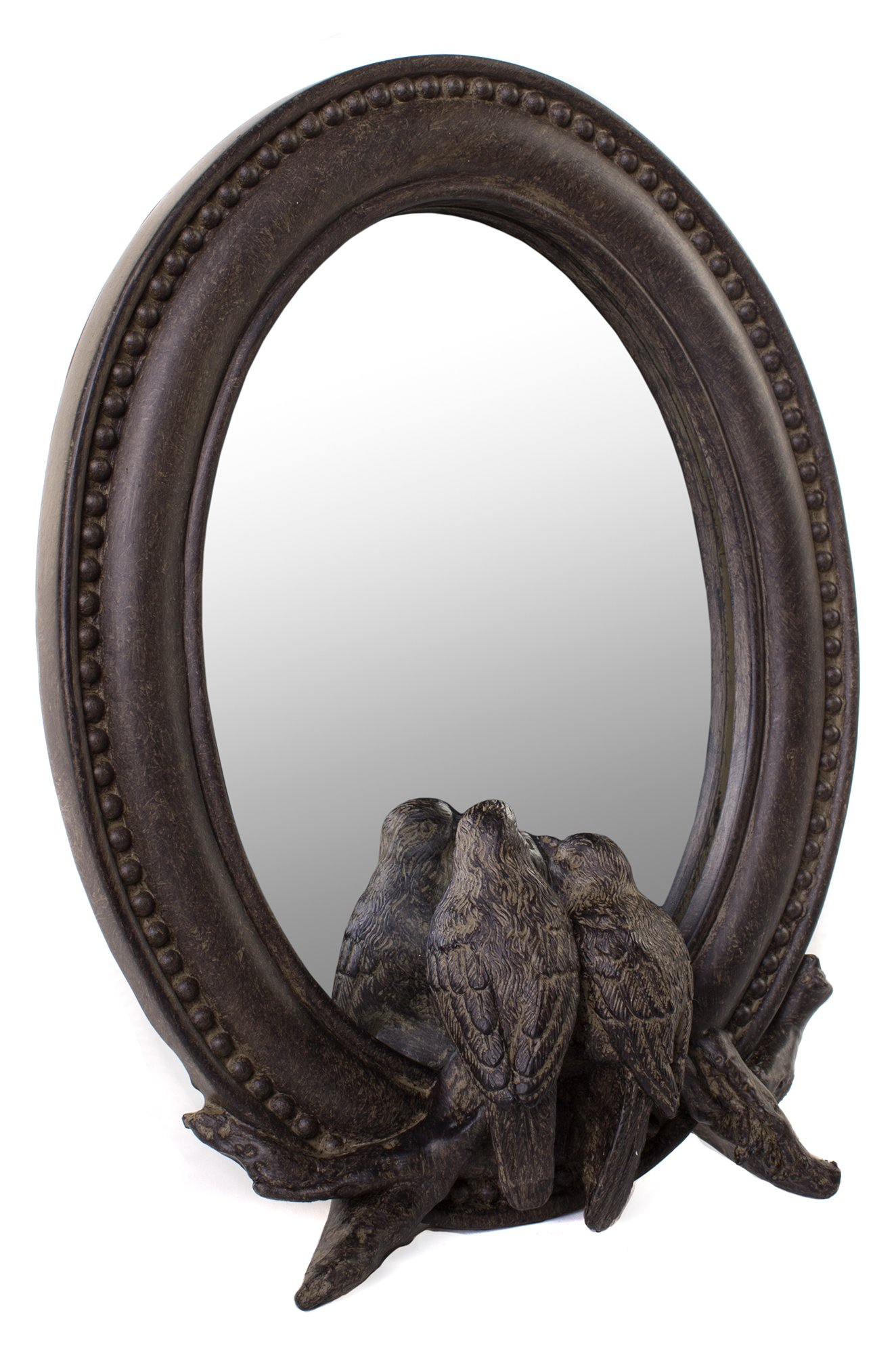 Farmhouse Oval Framed Mirror with Birds in Dark Brown