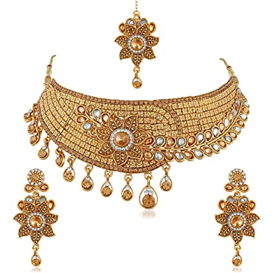 42c66bccf Image Unavailable. Image not available for. Colour  Trushi FLORAL GOLD  PLATED DESIGNER CHOKER BRIDAL NECKLACE SET WITH WHITE AND LCT STONES FOR  WOMEN