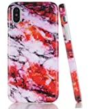 BAISRKE iPhone X Case,Red Multicolor Marble