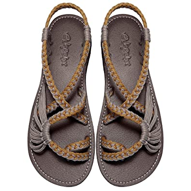 afd75ee65c4 Everelax Women s Flat Sandals Orange Grey 6B(M) US
