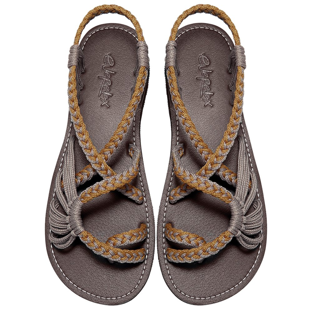 Everelax Women's Flat Sandals Orange Grey 11B(M) US