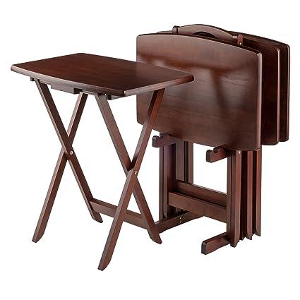 Winsome Oversize Snack Table Set Walnut  sc 1 st  Amazon.com & Amazon.com: Winsome Oversize Snack Table Set Walnut: Kitchen u0026 Dining