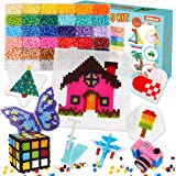 Fuse Beads Kit - 11,000 pcs 36 Colors Fuse Beads Craft Set for Kids Including 5 Pegboards, Ironing Paper & Chain…