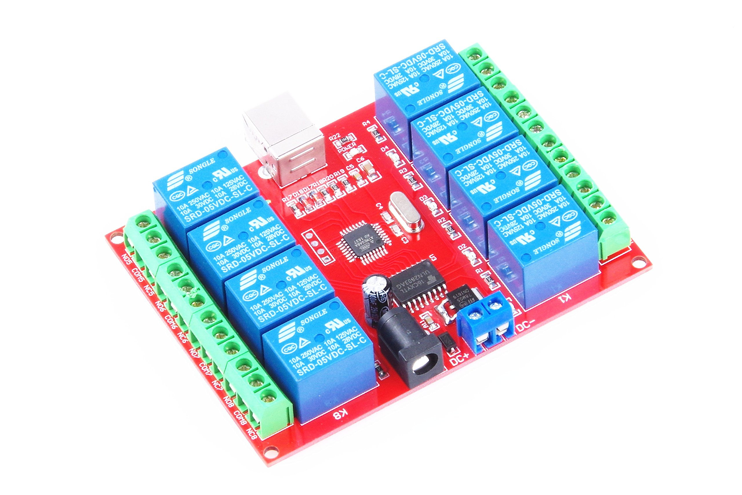 KNACRO SRD-05VDC-SL-C 8-way 5V Relay Module Free driver USB control switch PC intelligent control (5V 8-Channel)